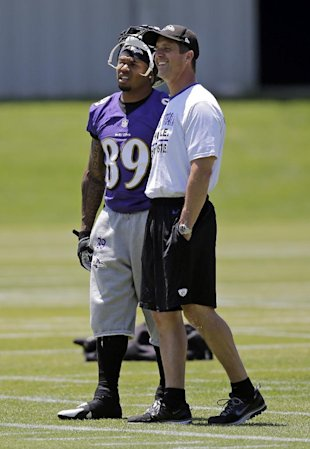 Steve Smith and Ravens coach John Harbaugh (AP)