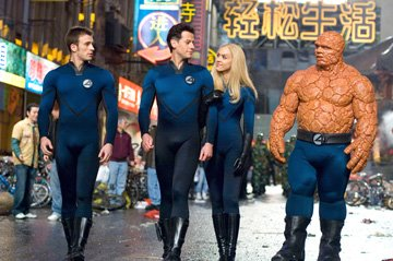 Chris Evans as Johnny Storm, Ioan Gruffudd as Reed Richards, Jessica Alba as Sue Storm and Michael Chiklis as Ben Grimm in 20th Century Fox's Fantastic Four: Rise of the Silver Surfer