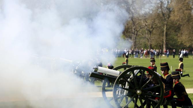 Soldiers from The King's Troop Royal Horse Artillery mark the eighty ninth birthday of Britain's Queen Elizabeth with a forty one round Royal Salute in Hyde Park