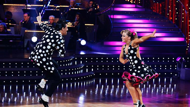 "Shawn Johnson and Mark Ballas perform the Jive to ""Reet Petite"" by Jackie Wilson on ""Dancing with the Stars."""