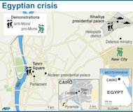 Map of the centre of Cairo locating pro-and anti-Morsi protests