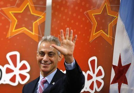 Chicago's Mayor Rahm Emanuel attends an opening ceremony for the Yelp Inc. offices in Chicago, Illinois