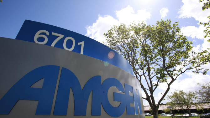 FILE - In this Tuesday, April 20, 2010, file photo, the exterior view of Amgen Inc. offices is shown in Fremont, Calif. Amgen Inc. reports quarterly earnings Tuesday, April 23, 2013, after the market close. (AP Photo/Paul Sakuma, File)