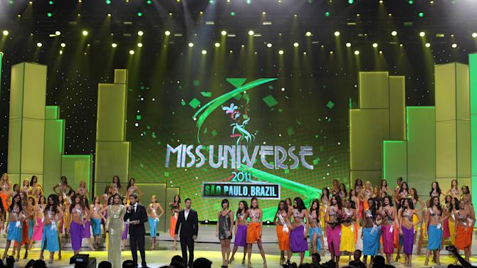 Miss Universe contestants stand on the stage during the Miss Universe preliminary competition event, in Sao Paulo, Brazil, Thursday, Sept. 8, 2011. Sao Paulo is hosting the Miss Universe 2011 pageant and will broadcast the contest on Sept. 12. (AP Photo/Andre Penner)