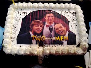 PIC: Ashton Kutcher Celebrates 34th Birthday With Two and a Half Men Cake