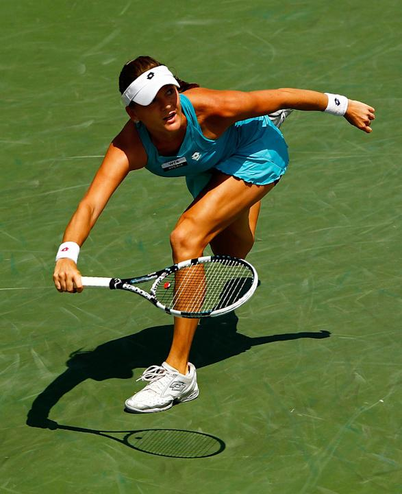Agnieszka Radwanska Of Poland In Action Against Maria Sharapova Of Russia Getty Images