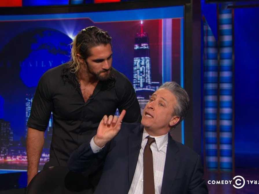 WWE star Seth Rollins went on 'The Daily Show' to challenge Jon Stewart to fight on 'Monday Night Raw'
