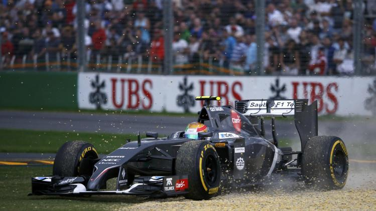 Sauber Formula One driver Gutierrez of Mexico drives to gravel during the qualifying session for the Australian F1 Grand Prix in Melbourne