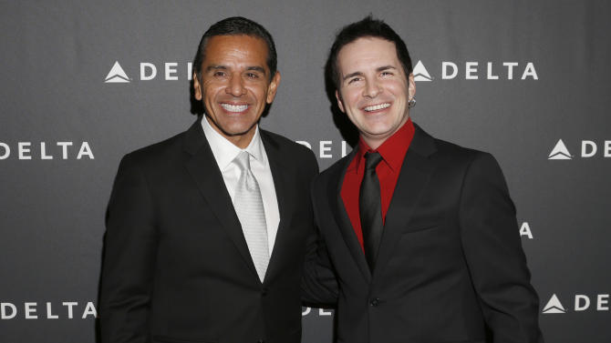 Los Angeles Major Antonio Villaraigosa and Hal Sparks arrive at a Celebration of LA's Music Industry at the Getty House on Thursday, Feb. 7, 2013 in Los Angeles. (Photo by Todd Williamson/Invision/AP)