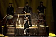 US pop icon Madonna performs on stage during her first MDNA world tour concert in the Ramat Gan Stadium, near Tel Aviv