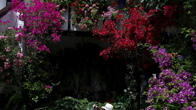 A tourist takes photos in a courtyard adorned with flowers during the Los Patios festival in Cordoba