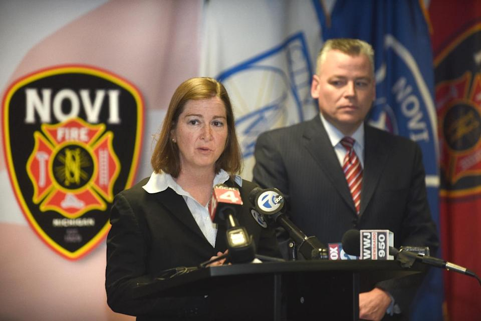 United States Attorney Barbara McQuade, Eastern District Michigan, speaks along side Novi Police Chief David Molloy during a press conference, Friday,...