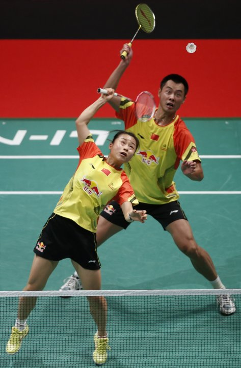 China's Xu Chen and Ma Jin play a shot against South Korea during their mixed doubles match at the finals of the Sudirman Cup World Team Badminton Championships in Kuala Lumpur