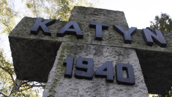 A memorial to the victims of Katyn, the Soviet massacre of 22,000 Polish officers in 1940, in Warsaw, Poland pictured on Monday, Sept. 10, 2012. On Monday the U.S. National Archives is releasing about 1,000 newly declassified documents related to Katyn. Some shed further light on decades of suppression of Soviet guilt within the U.S. government. The cover-up began during World War II when the U.S. needed the Soviets to defeat Germany and Japan, and continued on some level long after. (AP Photo/Czarek Sokolowski)