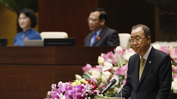 United Nations Secretary-General Ban Ki-moon addresses a session of Vietnam's National Assembly (Parliament) in Hanoi