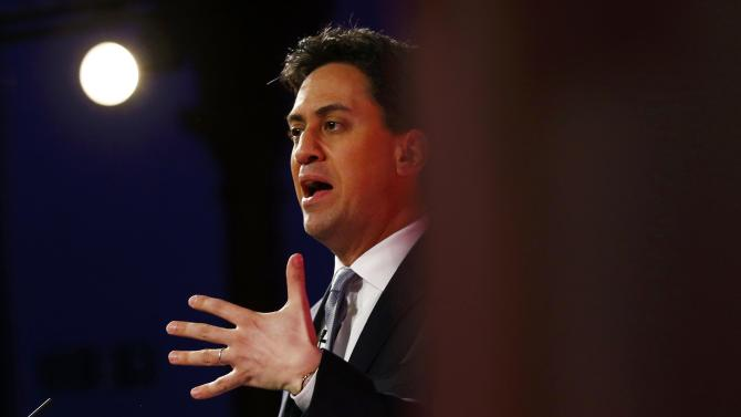 Britain's Labour Party's leader Ed Miliband's speaks at his final campaign event in Leeds, northern England