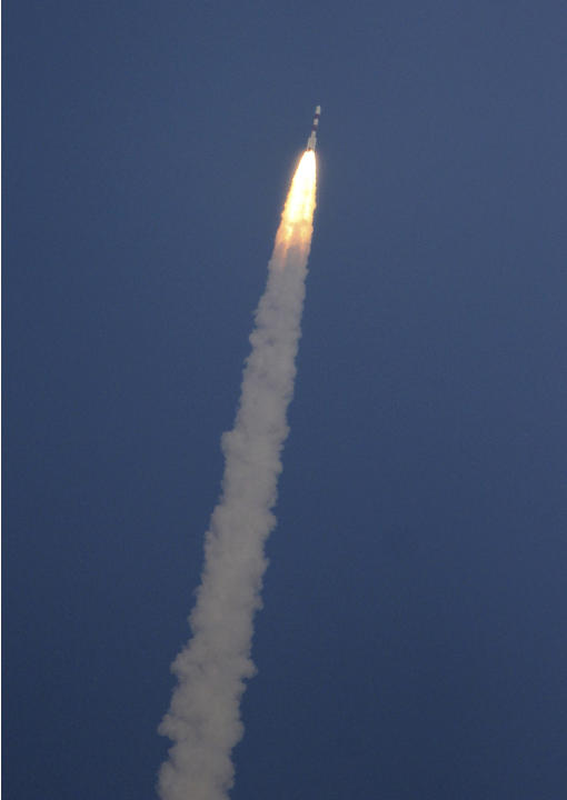 A rocket carrying the Mars orbiter takes off from the east-coast island of Sriharikota, India, Tuesday, Nov. 5, 2013. India on Tuesday launched its first spacecraft bound for Mars, a complex mission t
