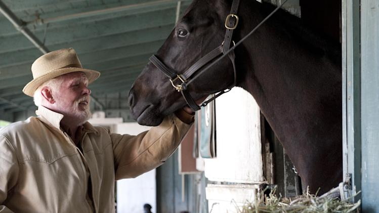 "In this undated image released by HBO, Nick Nolte appears in a scene from the HBO original series ""Luck."" A drama set at a California racetrack, HBO canceled the horse racing series after a third horse died during the production of the series. (AP Photo/HBO, Gusmano Cesaretti )"