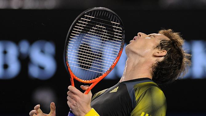 Britain's Andy Murray reacts during the men's final against Serbia's Novak Djokovic at the Australian Open tennis championship in Melbourne, Australia, Sunday, Jan. 27, 2013. (AP Photo/Andrew Brownbill)