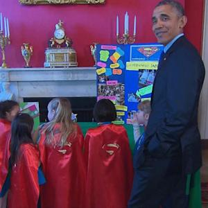 Obama Can't Even Catch A Break From Tiny Girl Scouts At Science Fair