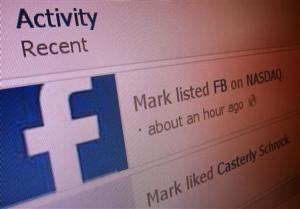 """Recent activity lists """"Mark listed FB on NASDAQ"""" in this image taken from Mark Zuckerberg's Facebook page"""