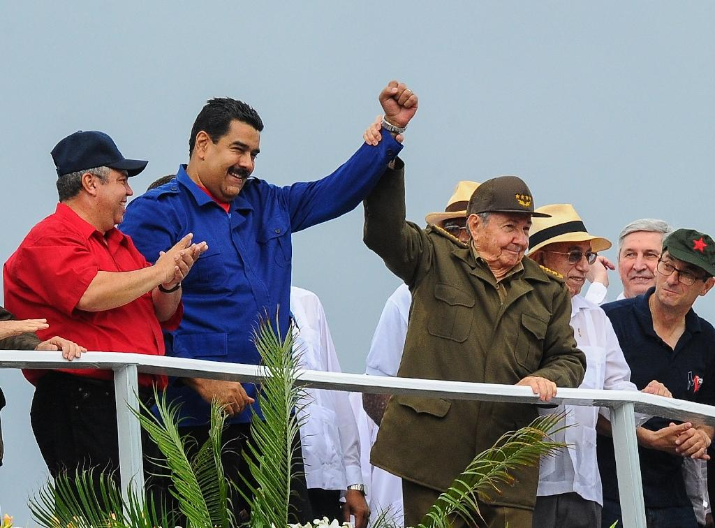 Castro, Venezuelan leader at May Day rally in Havana