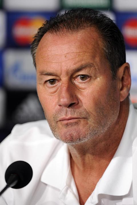 In this Aug. 20, 2013 file picture then Saloniki's coach Huub Stevens attends   a press conference  in Gelsenkirchen, Germany prior a  Champions Leage match  against Schalke 04.  VfB Stuttgart has