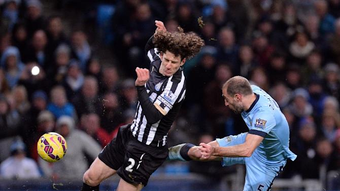 Newcastle United's Argentinian defender Fabricio Coloccini (L) has called for unity in the face of possible relegation