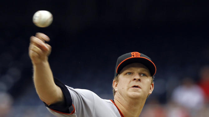 San Francisco Giants pitcher Matt Cain throws the ball during the first inning of a baseball game with the Washington Nationals at Nationals Park on Sunday, May 1, 2011, in Washington.(AP Photo/Alex Brandon)