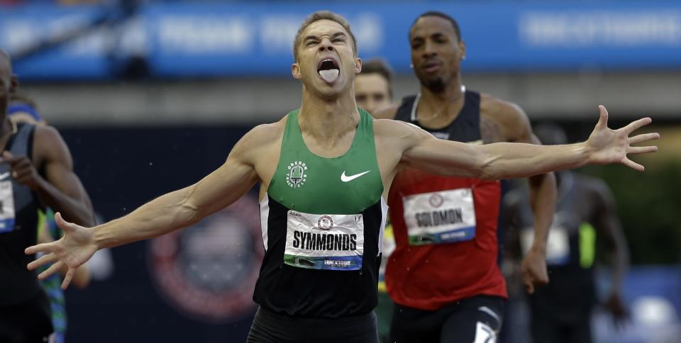 Nicholas Symmonds reacts after winning the men's 800m finals at the U.S. Olympic Track and Field Trials Monday, June 25, 2012, in Eugene, Ore. (AP Photo/Eric Gay)