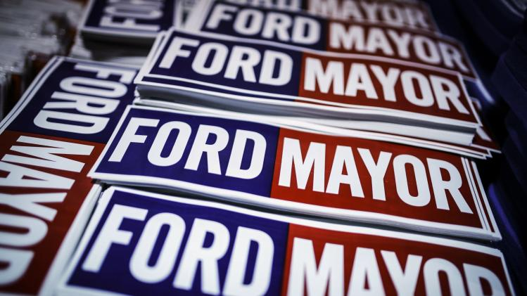 Stickers are seen at Toronto Mayor Rob Ford's campaign launch party in Toronto