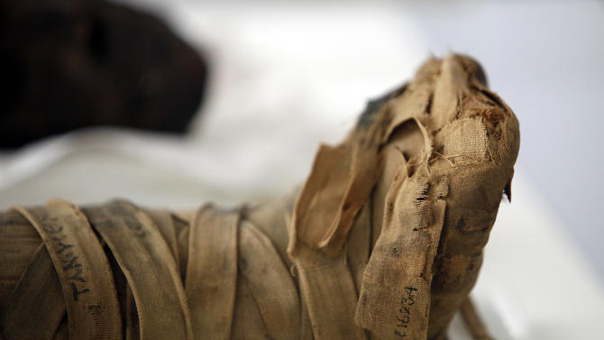 This photo taken Friday, Oct. 19, 2012 shows the wrapped feet of a mummified young girl of the Ptolemaic/Roman Period, 332 B.C. -395 A.D. at the Penn Museum in Philadelphia. The newly installed Artifact Lab at the Penn Museum allows visitors to peek behind the scenes as staff members preserve relics from ancient Egypt. Human and animal mummies, as well as an intricately inscribed coffin, are among the items currently undergoing treatment and repair. (AP Photo/Jacqueline Larma)