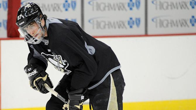Pittsburgh Penguins hockey player Sidney Crosby skates at the Consol Energy Center in Pittsburgh Monday, April 15, 2013. (AP Photo/Tribune Review, Chaz Palla)  PITTSBURGH OUT  BEAVER COUNTY TIMES OUT MANDATORY CREDIT