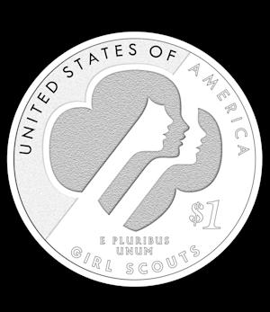 This undated photo provided by the United States Mint shows the back of a a U.S. Mint-designed commemorative silver dollar coin honoring 100 years of the Girl Scouts of the USA. It features three Girl Scouts of different backgrounds on one side and the group's trefoil logo on the other. It also contains the inscription Courage, Confidence, Character. (AP Photo/United States Mint)