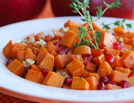Oven Roasted Sweet Potatoes with Pomegranate Glaze