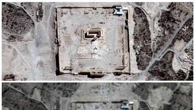 Combination picture of handout satellite images shows the site of the Temple of Bel before and after its apparent destruction in Palmyra, Syria