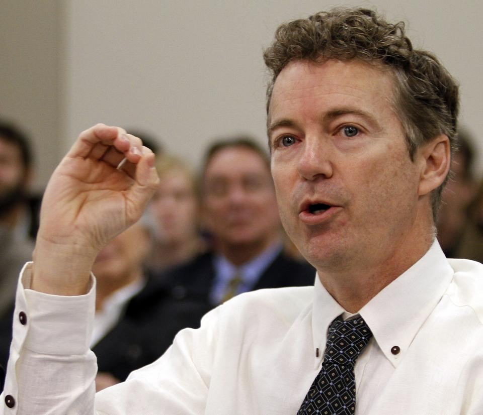 FILE - In this Feb. 11, 2013 file photo, Sen. Rand Paul, R-Ky. testifies at the Capitol Annex in Frankfort, Ky. Senate Democrats push for quick confirmation vote on John Brennan's nomination to head CIA, but Republican senator mounts lengthy debate.  (AP Photo/James Crisp, File)