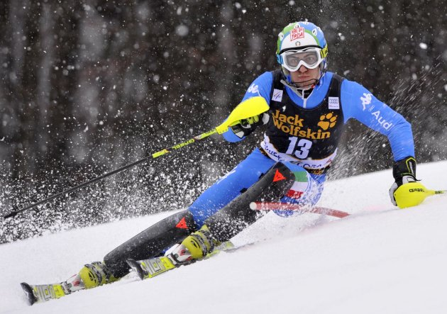 Stefano Gross of Italy clears a gate during his first run of the men's Slalom event at the Alpine Skiing World Cup in Kranjska Gora