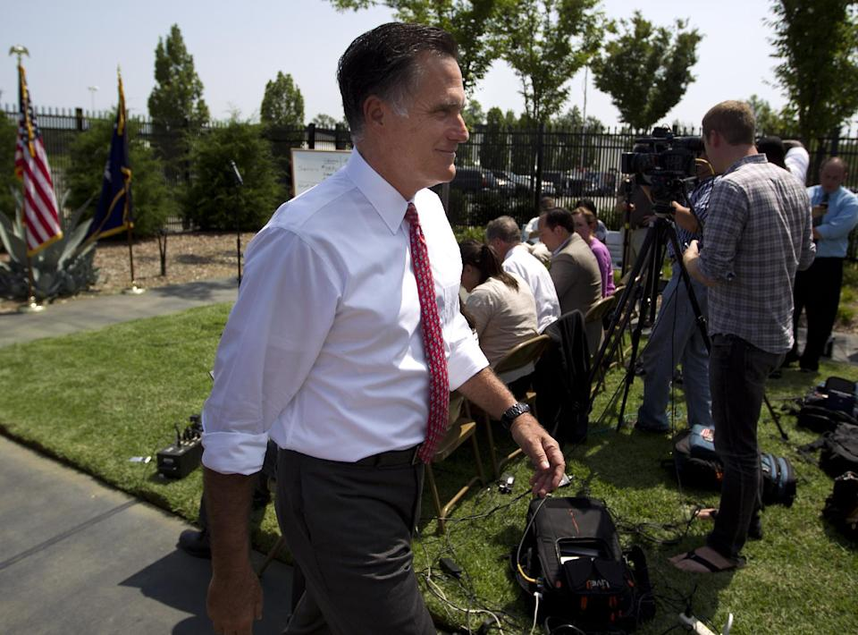Republican presidential candidate, former Massachusetts Gov. Mitt Romney leaves after a news conference at Spartanburg International Airport, Thursday, Aug. 16, 2012, in Greer, S.C .  (AP Photo/Evan Vucci)
