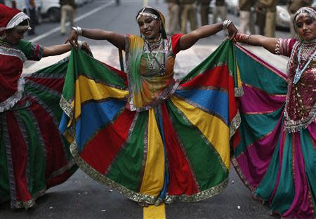 Dancers perform outside the headquarters of India's main opposition Bharatiya Janata Party (BJP) in New Delhi