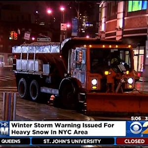 Winter Storm Warning Issued For NYC Area