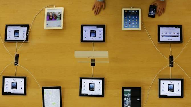 Apple's iPad devices are displayed at its store in Tokyo