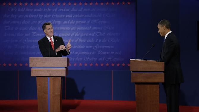 FILE - In this Oct. 3, 2012 file photo, Republican presidential nominee Mitt Romney points to President Barack Obama during the first presidential debate at the University of Denver in Denver. In the end, Obama won re-election exactly the way his campaign had predicted: running up big margins with women and minorities, mobilizing a sophisticated registration and get-out-the-vote operation and focusing narrowly on the battleground states that would determine the election. It wasn't always exciting, and it was hardly transformational. But it worked. Still, there were detours along the way, most notably Obama's dismal performance in the first debate, which gave Romney new life in the campaign.(AP Photo/Eric Gay, File)