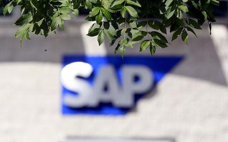 File photo of an SAP logo at its offices in the CityWest complex, Dublin