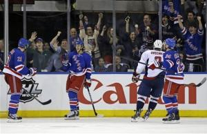 Rangers hang on to beat Caps 4-3, tie series 2-2