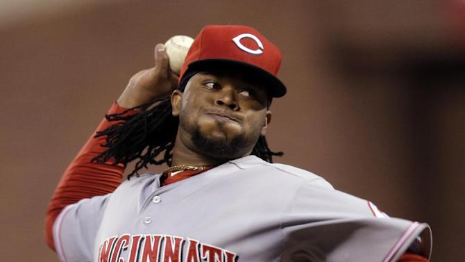 Cincinnati Reds starting pitcher Johnny Cueto throws the first inning of Game 1 of the National League division baseball series against the San Francisco Giants in San Francisco, Saturday, Oct. 6, 2012. Cueto left the game with an injury. (AP Photo/Marcio Jose Sanchez)