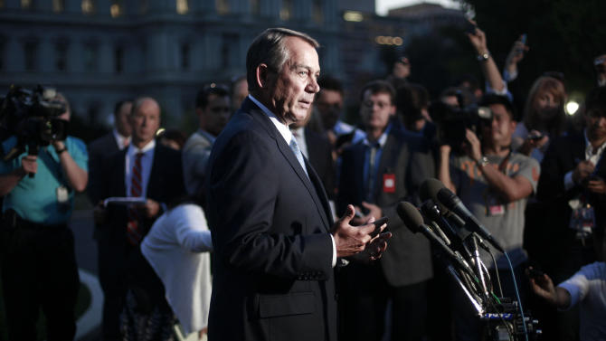 House Speaker John Boehner, R-Ohio, speaks to members of the media after meeting with President Barack Obama at the White House in Washington, Wednesday, Oct. 2, 2013. Republicans insisted they wanted to shut down the nation's 3-year-old health care overhaul, not the government. They got the opposite, and now struggle to convince the public that responsibility for partial closure of the federal establishment lies with the President Barack Obama and the Democrats. (AP Photo/Pablo Martinez Monsivais)