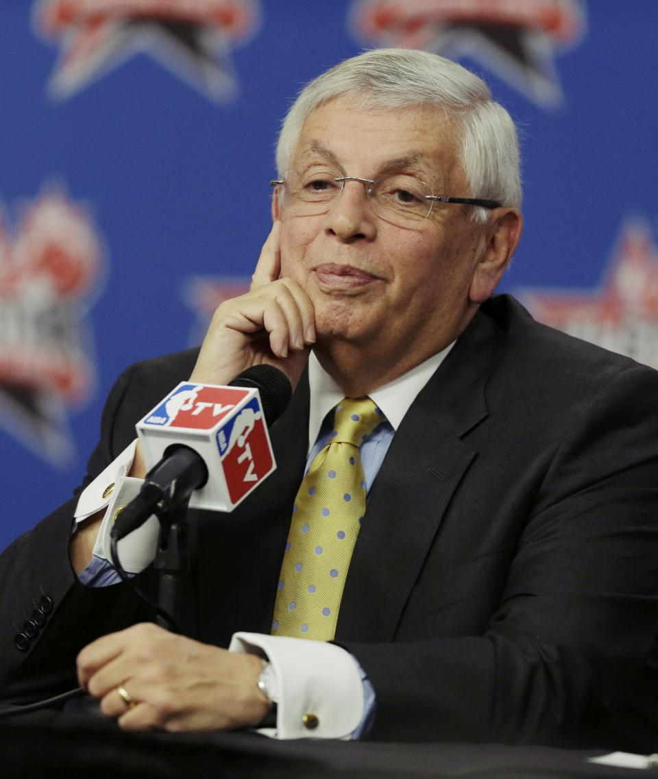 NBA Commissioner David Stern listens to a question at a news conference during NBA All-Star Saturday Night basketball in Houston on Saturday, Feb. 16, 2013. (AP Photo/Pat Sullivan)