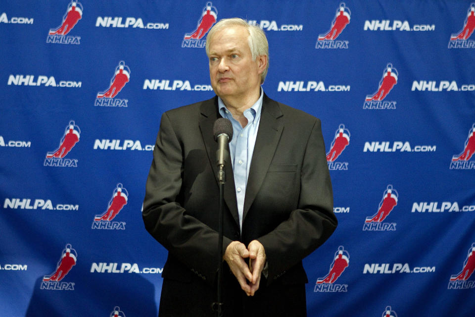 NHL players' association head Donald Fehr speaks to reporters following collective bargaining talks in Toronto on Tuesday, Oct. 16, 2012.  (AP Photo/The Canadian Press, Chris Young)