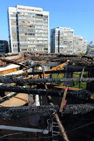 The burned down top floor of the Gymnasium 33 high…